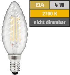 "LED Filament Kerzenlampe gedreht McShine ""Filed"", E14, 4W, 380 lm, warmweiß, klar"