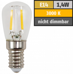 LED Filament Kolbenlampe McShine, E14, 1,4W, 120lm, 26x60mm, warmweiß