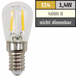 LED Filament Kolbenlampe McShine, E14, 1,4W, 120lm, 26x60mm, neutralweiß