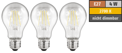 LED Filament Set McShine, 3x Glühlampe, E27, 4W, 470lm, warmweiß, klar