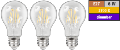 LED Filament Set McShine, 3x Glühlampe, E27, 6W, 600lm, warmweiß, klar, dimmbar
