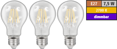 LED Filament Set McShine, 3x Glühlampe, E27, 7,5W, 800lm, warmweiß, klar, dimmbar