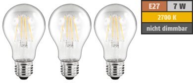 LED Filament Set McShine, 3x Glühlampe, E27, 6W, 630lm, warmweiß, klar