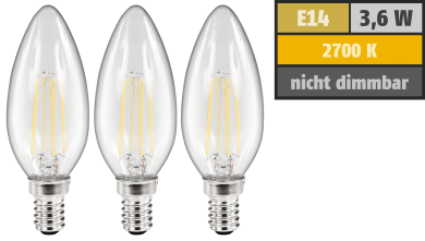 LED Filament Set McShine, 3x Kerzenlampe, E14, 3,6W, 360lm, warmweiß, klar