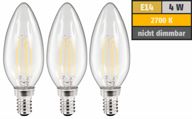 LED Filament Set McShine, 3x Kerzenlampe, E14, 4W, 360lm, warmweiß, klar