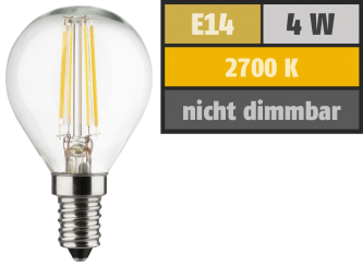 LED Filament Tropfenlampe, E14, 4W, 470lm, 2700K, warmweiß, 3er Set