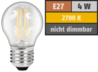 "LED Filament Tropfenlampe McShine ""Filed"", E27, 4W, 470lm, warmweiß, klar"