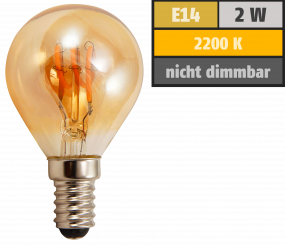 "LED Filament Tropfenlampe McShine ""Retro"" E14, 2W, 150lm, warmweiß,goldenes Glas"