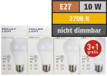LED Glühlampe, E27, 10W, 810lm, 2700K, warmweiß, 3+1 Set