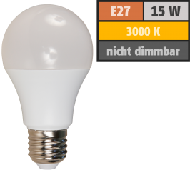 LED Glühlampe, E27, 15W, 1500lm, 200°, 3000K, warmweiß, Ø60x139mm