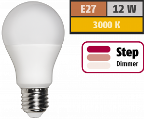 LED Glühlampe McShine, E27, 12W, 1.055 lm, 3000K, warmweiß, step dimmbar 100/50/10%