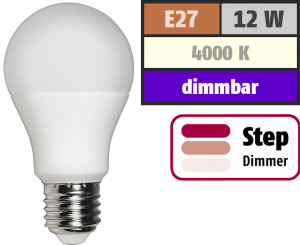 LED Glühlampe McShine, E27, 12W, 1.055 lm, 4000K, neutralweiß, step dimmbar 100/50/10%