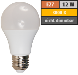 LED Glühlampe McShine, E27, 12W, 1050lm, 240°, 3000K, warmweiß, Ø60x109mm