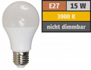 LED Glühlampe McShine, E27, 15W, 1.250 lm, 3000K, warmweiß