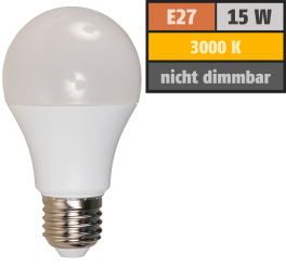 LED Glühlampe McShine, E27, 15W, 1250lm, 220°, 3000K, warmweiß, Ø60x118mm
