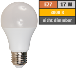 LED Glühlampe McShine, E27, 17W, 1520lm, 220°, 3000K, warmweiß, Ø60x139mm