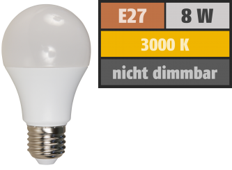 LED Glühlampe McShine, E27, 8W, 650lm, 3000K, warmweiß