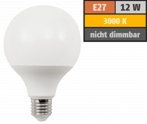 LED Globelampe McShine, E27, 12W, 1055lm, warmweiß