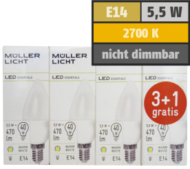 LED Kerzenlampe, E14, 5,5W, 470lm, 2700K, warmweiß, 3+1 Set