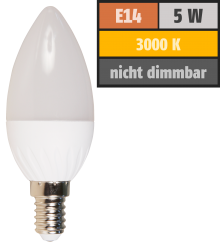 "LED-Kerzenlampe McShine ""Brill95"" E14, 5W, 400lm, 160°, warmweiß, Ra >95, 37x98mm"