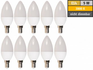 "LED-Kerzenlampe McShine ""Brill95"" E14, 5W, 400lm, warmweiß, Ra>95, 10er-Pack"