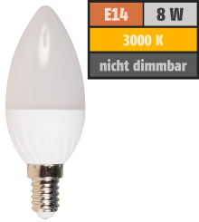 LED Kerzenlampe McShine, E14, 8W, 600lm, 160°, 3000K, warmweiß, Ø37x105mm