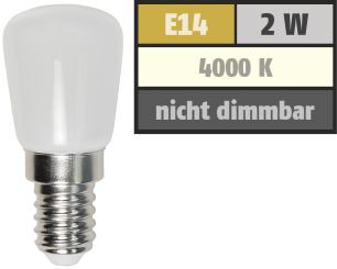 LED Kolbenlampe McShine, E14, 2W, 160lm, 260°, 23x51mm, neutralweiß