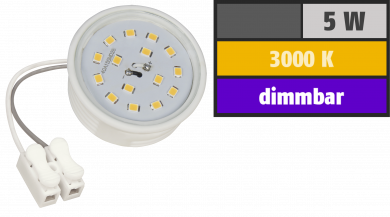LED-Modul McShine, 5W, 400 Lumen, 230V, 50x23mm, warmweiß, 3000K, dimmbar