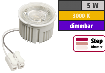 "LED-Modul McShine ""MCOB"" 5W, 400lm, 230V, 50x33mm, warmweiß, 3000K, step-dimmbar"