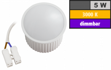 """LED-Modul McShine """"PL-50"""" 5W, 400Lumen, 230V, 50x30mm, warmweiß, 3000K, dimmbar"""