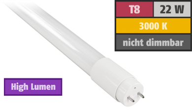 "LED-Röhre, T8, 22W ""High Lumen"" 3000lm, 150cm, 3000k warmweiß, 160°"