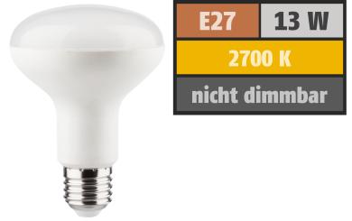 LED Reflektor R80, E27, 13W, 1000lm, 2700K, warmweiß