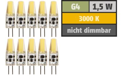 "LED-Stiftsockellampe McShine ""Silicia COB"", G4, 1,5W, 200lm, warmweiß, 10er-Pack"