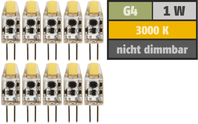 "LED-Stiftsockellampe McShine ""Silicia COB"", G4, 1W, 110lm, warmweiß, 10er-Pack"