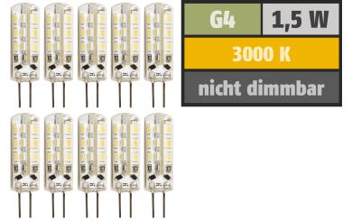 "LED-Stiftsockellampe McShine ""Silicia"", G4, 1,5W, 120lm, warmweiß, 10er-Pack"