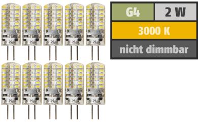 "LED-Stiftsockellampe McShine ""Silicia"", G4, 2W, 160lm, warmweiß, 10er-Pack"