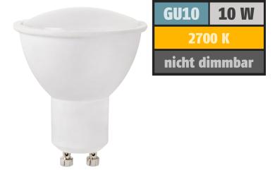 LED-Strahler GU10, 10W, 780 lm, warmweiß, Milchglas