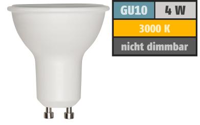 LED-Strahler GU10, 4W, 300 lm, warmweiß, Milchglas
