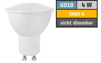 LED-Strahler GU10, 4W, 350 lm, warmweiß, 38° Abstrahlwinkel