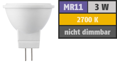 LED Strahler MR11 / G4, 3W, 190lm, 2700K, warmweiß