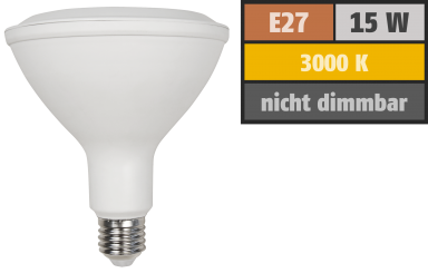 LED-Strahler McShine, E27, PAR38, 15W, 1.050lm, 3000K, warmweiß