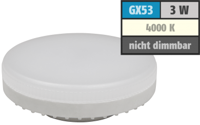 "LED-Strahler McShine ""LS-353"", GX53, 3W, 260lm, Ø75x25mm, 120°, neutralweiß"
