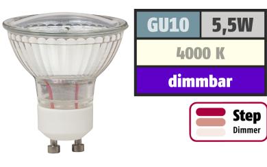 "LED-Strahler McShine ""LS-450"" GU10, 5,5W, 470lm, neutralweiß, step dimmbar 100/50/20%"