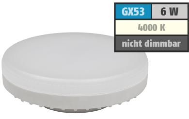 "LED-Strahler McShine ""LS-653"", GX53, 6W, 580lm, Ø75x25mm, 120°, neutralweiß"