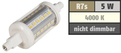 "LED-Strahler McShine ""LS-736"", R7s, 5W, 410 lm, 78mm, 360°, weiß"