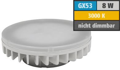 "LED-Strahler McShine ""LS-853"", GX53, 8W, 800lm, Ø75x25mm, 120°, warmweiß"