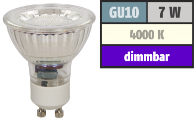 "LED-Strahler McShine ""MCOB"" GU10, 7W, 450 lm, neutralweiß, dimmbar"