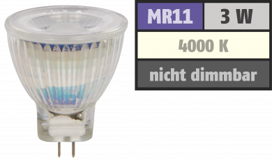 "LED-Strahler McShine ""MCOB"" MR11 / G4, 3W, 250 lm, neutralweiß"