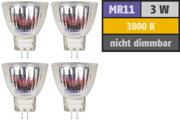 "LED-Strahler McShine ""MCOB"" MR11 / G4, 3W, 250lm, warmweiß, 4er-Pack"