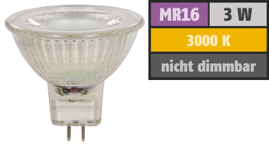 "LED-Strahler McShine ""MCOB"" MR16, 3W, 250 lm, warmweiß"